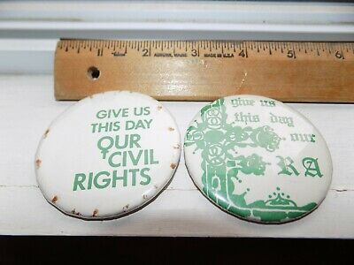 2 Vintage Round Give Us This Day Our Era Hat/Lapel Pin Feminist/Equal Rights