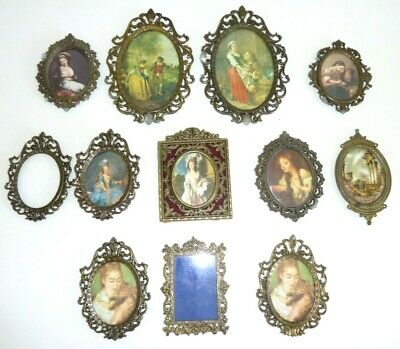 VTG Ornate Brass Frames Picture Photo Lot Set of 12 ITALY Miniature Small Wall