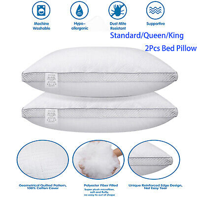 2Pack Hypoallergenic Down-Alternative Bed Pillows Soft Hotel Standard Queen King
