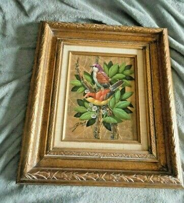 """Oil on Leaves on Board Painting by GRIS. 8"""" x 10"""" Framed and Signed"""