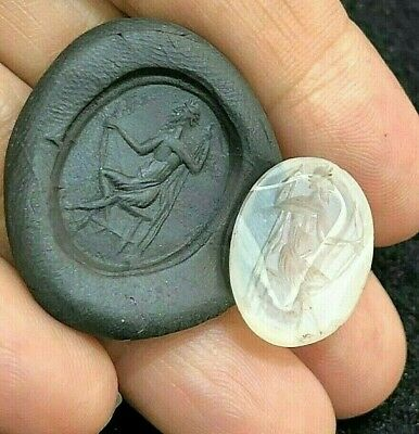Original Ancient Roman Crystal Intaglio Signet Engrave Moses Holding Cane Bead