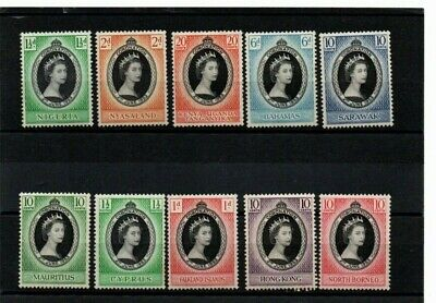 Coronation   1953   A nice selection of TEN mint stamps from various countries
