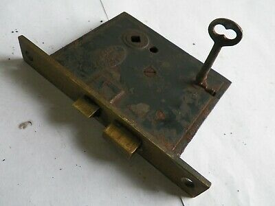 "Antique1885 New York City Make Mortise Door Lock 6 1/8"" x 7/8"" Brass Face Works"