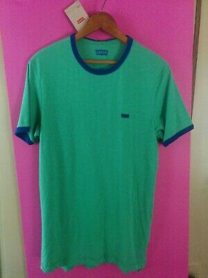 Levis Men's Size SMALL Short-Sleeve Green / Blue Perfect Ringer T-Shirt NWT