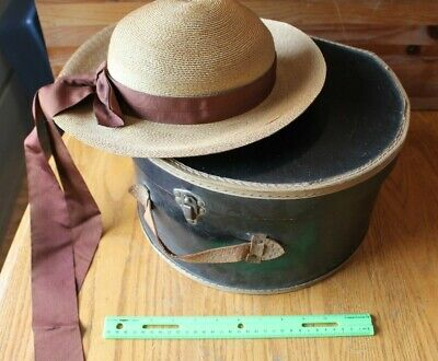 Hat box travel luggage Case Antique black with leather handle and Vintage Hat