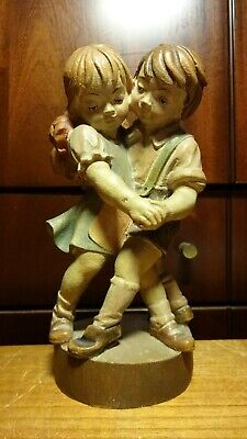 "Vintage 8"" Wooden Hand Carved Dancing Boy With Girl Statue Figurine German Gift"