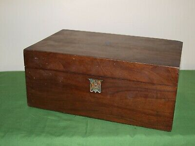 Large Vintage Mahogany Writing Slope with Ink Well