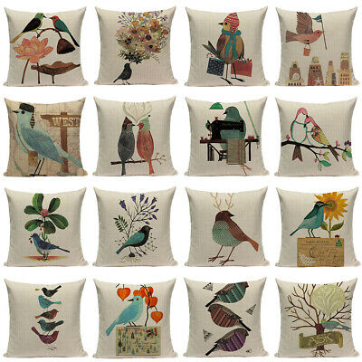 Cartoon Painting Animals Bird Pattern Cushion Cover Sofa Home Decor Pillow Case