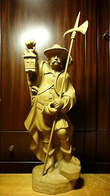 """Vintage 21"""" Wooden Hand Carved  Pirate Medieval Night Watchman Guard Statue Gift"""