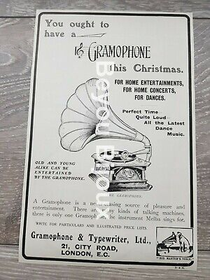 His Masters Voice Gramophone /The Pen of Point Onoto  Antique advert 1905