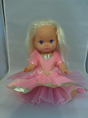 Vintage 1988 Lil Miss Magic Jewels Mattel Doll Blonde Girl, Pink Dress, Jointed