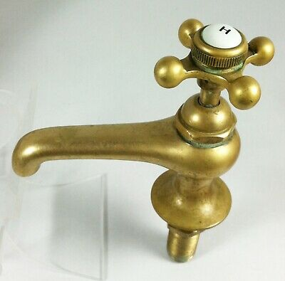Vintage Solid Brass Hot Water Tap Faucet Spigot Cross Handle Porcelain Button