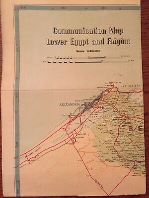 """Communication Map Of Lower Egypt And Faiyum ~ 43""""x32"""" ~ 1950"""