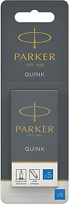 Parker Quink Washable Ink Fountain Pen Refill Cartridges, 10 Blue Ink Refills