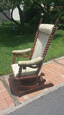 1880s George Hunzinger Barley Twist Walnut Platform Rocker Rocking Chair