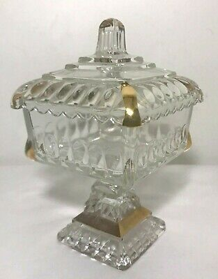 Vintage Jeanette Clear Glass Square Pedestal Candy Dish Gold Trim Lid Ribbed