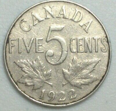 1922 CANADA  5 Cent Nickel Coin KING GEORGE V PN#1A