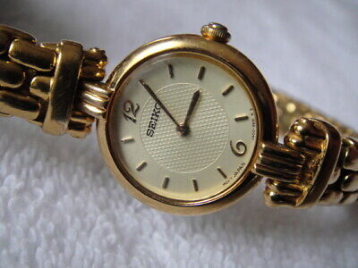 Vintage Retro Seiko Gold Tone Ladies watch V400-1409 W/New Battery!!!