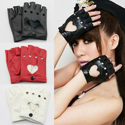 Fashion Half Finger Driving Dance Women PU Leather Fingerless Gloves AU Local
