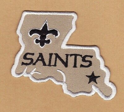 """New Orleans Saints 3"""" State Shaped Embroidered Iron On Patch *New*"""