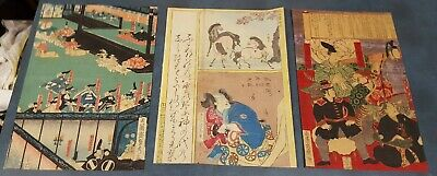 #1-Three Very Fine Old/Antique Japanese Wood Block Prints Signed Good Color