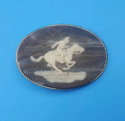 Vintage Belt Buckle Cowboy Rodeo Horse Genuine Incolay Stone Made in USA 3.75""