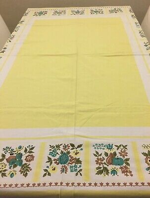 """Vintage Cotton Tablecloth Fall Fruits and Leaves 52"""" x 70"""""""