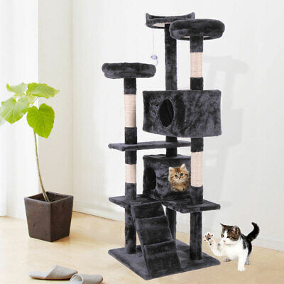 "60"" H Cat Tree Tower Condo Furniture Scratch Post Pet Kitten Kitty Play House"