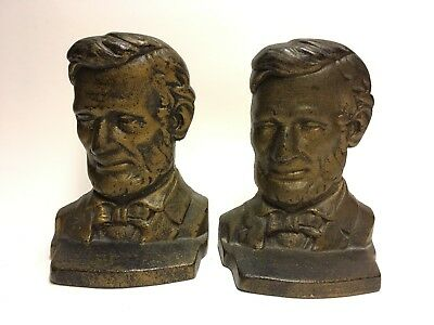Pair of Vintage Abraham Lincoln Cast Metal Bookends