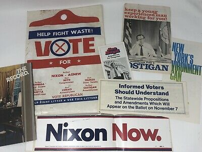Vintage 1972 Re-Elect Nixon Agnew Presidential Campaign Packet Bumper Sticker