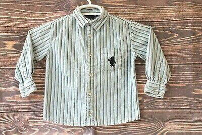 Boys Disney Winnie The Pooh H&M Button Down Long Sleeve Toddler Size 3-4 Yrs