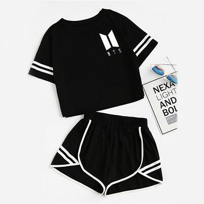 2PCS KPOP BTS Bangtan T-shirt + Shorts Girls V Jimin Jin Jung Suga Tee Set Suits