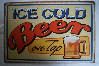 RETRO STYLE TIN SIGN - Ice Cold Beer - On Tap