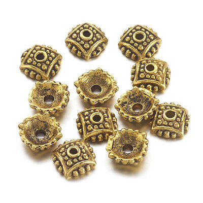100pcs Tibetan Alloy Bumpy Bead Caps Square Dotted Gold Spacer Nickel Free 7.5mm