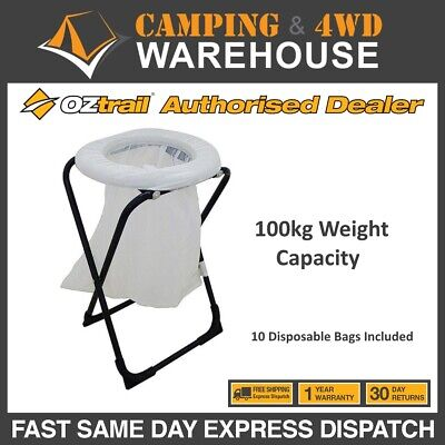 OZTrail Camping Folding Toilet Chair - Camp Toilet - Portable Toilet