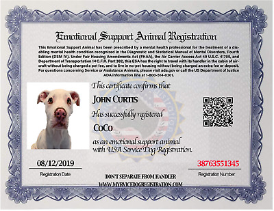 Emotional Support Animal ESA Certificate id , ESA+  Free Registration to US Dog