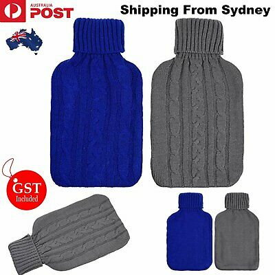 2000ml HOT WATER BOTTLE Knitted Cover Winter Warm Rubber Bag Relaxing Warmer AU