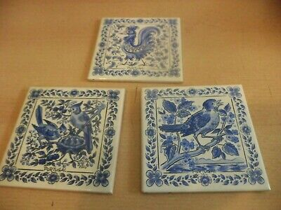 3 old vintage hand painted blue & white square bird tiles coasters TINO PORTUGAL
