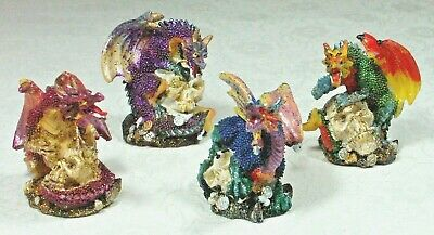 "Set of 4 Dragon on Skull with Coins Figurine 5cm (2"") BNIB DRAG2C Poly Resin"