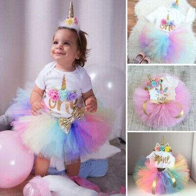 AU 3PCS Baby Girl 1st Birthday Outfit Party Unicorn Romper Cake Smash Tutu Dress