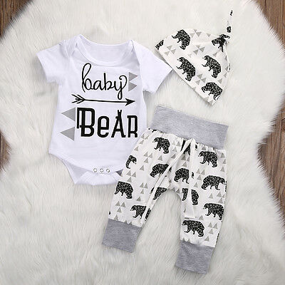 Cute Kids Toddler Girl Boy Baby Bear Print Romper Pants Hat Outfits Clothes Set