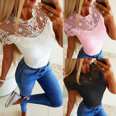 Women Short Sleeve Lace Mesh T Shirt Tops Ladies Summer Casual Stretch Blouse 16