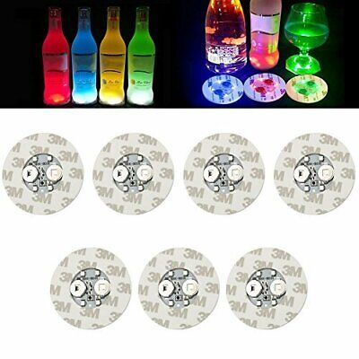 7 Pcs LED Sticker Coaster Discs Lights For Wine Liquor Bottle Clear Glass Cup US