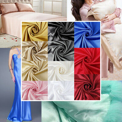 Silky Satin Fabric Sold per Metre Wedding Making Dress Craft Material 150cm Wide