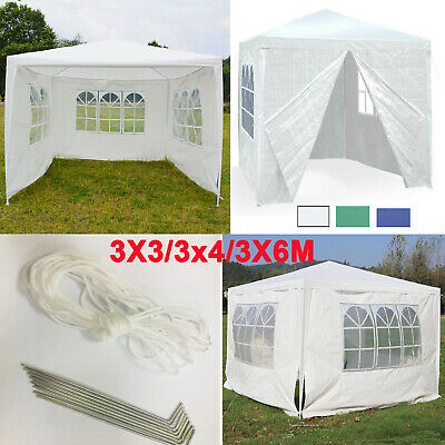 3x3m 3x4m 3x6m Outdoor Gazebo Garden Party Tent with 2 Windbars & 4 Leg Weights