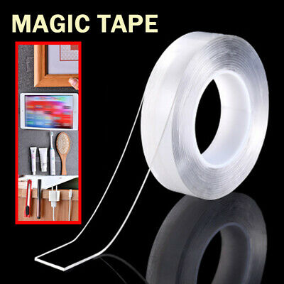 Magic Double-sided Nano Gel Tape Adhesive Transparent Washable Tape Roll New