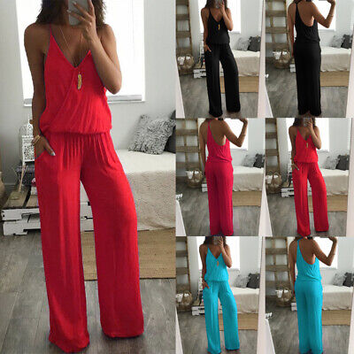 Womens Strappy Wide Leg Palazzo Trousers Harem Baggy Jumpsuit Backless Playsuit