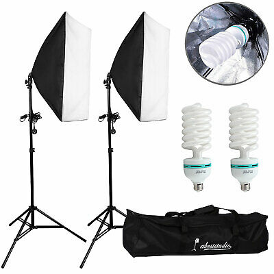 Photography Studio Softbox Lighting Soft Box Video Continuous Light Stand Kit UK