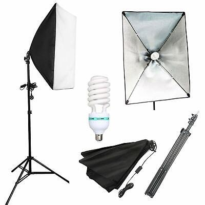 Photo Studio 135W Softbox Continuous Lighting Soft Box Light Stand Kit Set UK