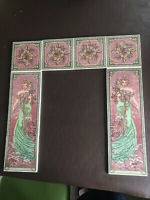 Fireplace tile set Mucha Lady In Greens And Pinks